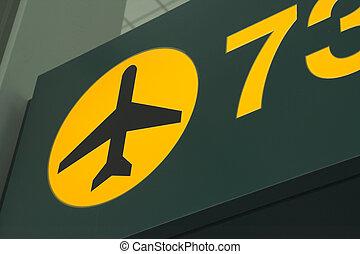 aeroporto, verde, sinal