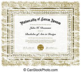 afligido, vetorial, diploma