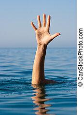 afogamento, ajuda, mão, único, pedir, mar, homem
