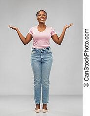 africano, feliz, americano, sucesso, mulher, celebrando