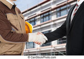 agitação, homem negócios, arquiteta, mãos