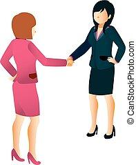 agitação, mulheres negócios, mãos