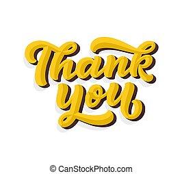 agradecer, manuscrito, inscription., saudação, mão, calligraphy., vetorial, manuscrito, desenhado, tu, 3d, lettering., card.