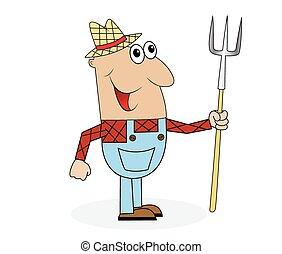 agricultor, macho, pitchfork