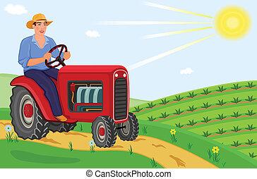 agricultor, trator, dirigindo, seu