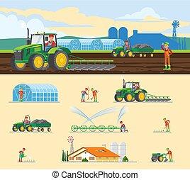 agricultura, conceito, coloridos