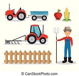 agricultura, jogo, agricultura, ícone