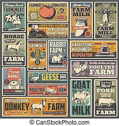 agricultura, retro, fazenda, cartazes