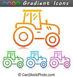 agricultura, trator, vetorial, símbolo, ícone