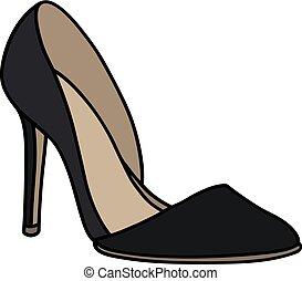 agulha, sapato preto, calcanhar