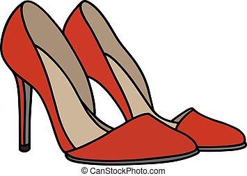 agulha, vermelho, calcanhar, sapatos