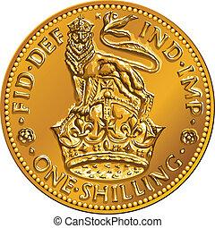 ahd, ouro, dinheiro, coroa, xelim, leão, vetorial, moeda britânica