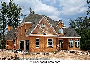 ainda, novo, construção, lar, sob