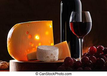 ainda-vida, vinho, uva, queijo