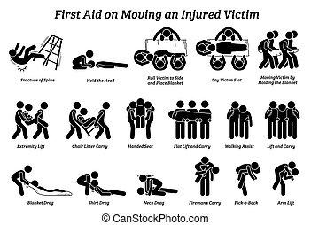 ajuda, vara, icons., ferido, figuras, técnicas, em movimento, vítima, primeiro