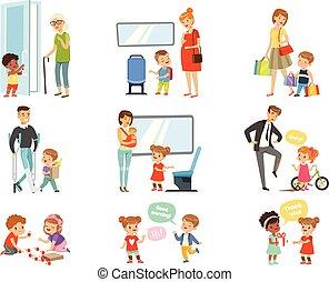ajudando, adultos, transporte, maneira, crianças, jogo, crianças, maneiras, polido, agradecer, dar, bom, vetorial, fundo, cada, ilustrações, branca, outro