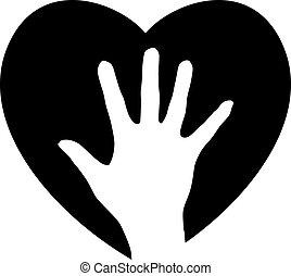 ajudando, coração, mão