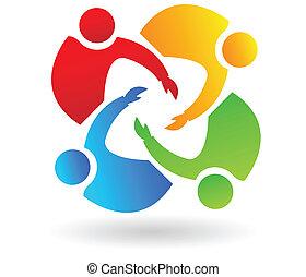 ajudando, logotipo, trabalho equipe, 4 pessoas