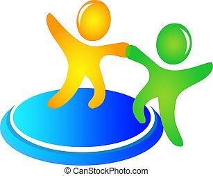 ajudando, logotipo, vetorial, trabalho equipe