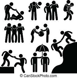 ajudando, outro, negócio, amigo, cada