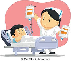 ajudando, paciente enfermeira, caricatura