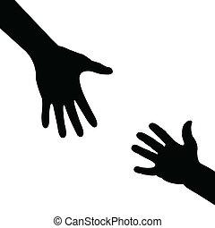 ajudando, silueta, mão