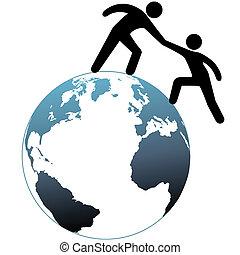 ajudante, topo, alcance, cima, ajudas, mundo, amigo, saída