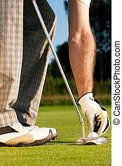 ajustar, golfer, bola golfe