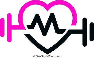 ajustar, letra, amor, pulso, logotipo, m, vetorial