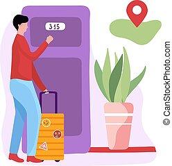 albergue, door., branca, experiência., macho, personagem, albergue, ilustração, motel, vetorial, porta, marca, hotel, bagagem, conceito, geo
