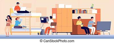 albergue, vetorial, dorm., acomodação, estudante, alternativa, dormitory., caricatura, trabalhando, adolescente, estudar, menina, faculdade, menino, ilustração, tocando