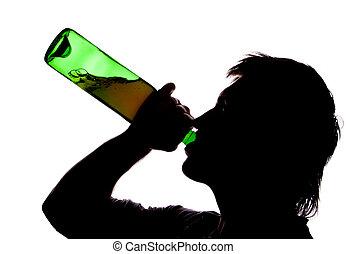 alcoho, bebendo, silueta, homem