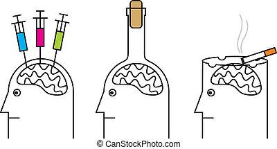 alcoholism., droga, prejudicial, hábitos, health., fumar, vício