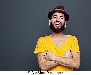 alegre, homem, jovem, barba