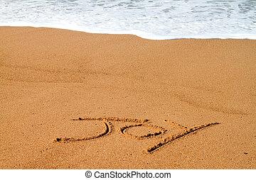 alegria, escrito, praia