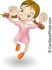 alegria, menina, pular, jovem