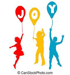 alegria, mensagem, balões, crianças, segurando