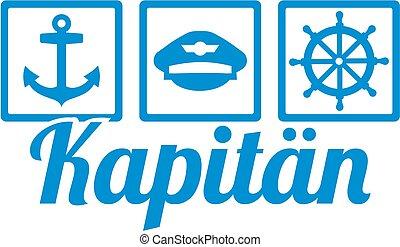 alemão, capitão, trabalho, ícones, título