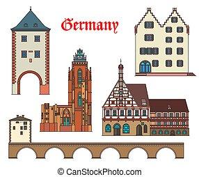 alemão, cidade, alemanha, marcos, arquitetura, casas