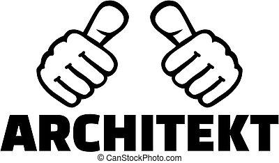 alemão, trabalho, arquiteta, polegares, título