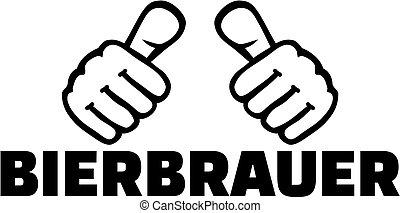 alemão, trabalho, cervejeiro, polegares, título