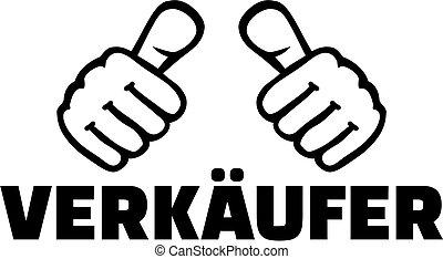 alemão, trabalho, vendedor, polegares, título