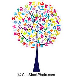 alfabeto, árvore, letras