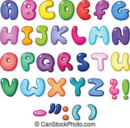 alfabeto, bolha, 3d