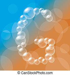 alfabeto, bolhas, transparente
