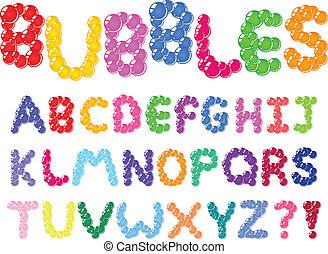 alfabeto, bolhas