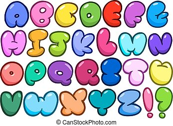 alfabeto, cômico, bolha