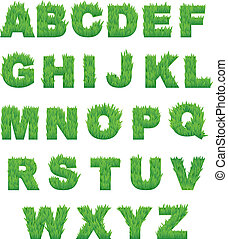 alfabeto, capim, letras, verde