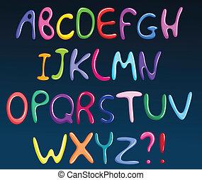 alfabeto, espaguete, coloridos