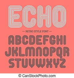 alfabeto, estilo, fonte, retro